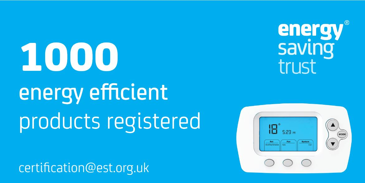 1000 energy efficient products registered by Energy Saving Trust