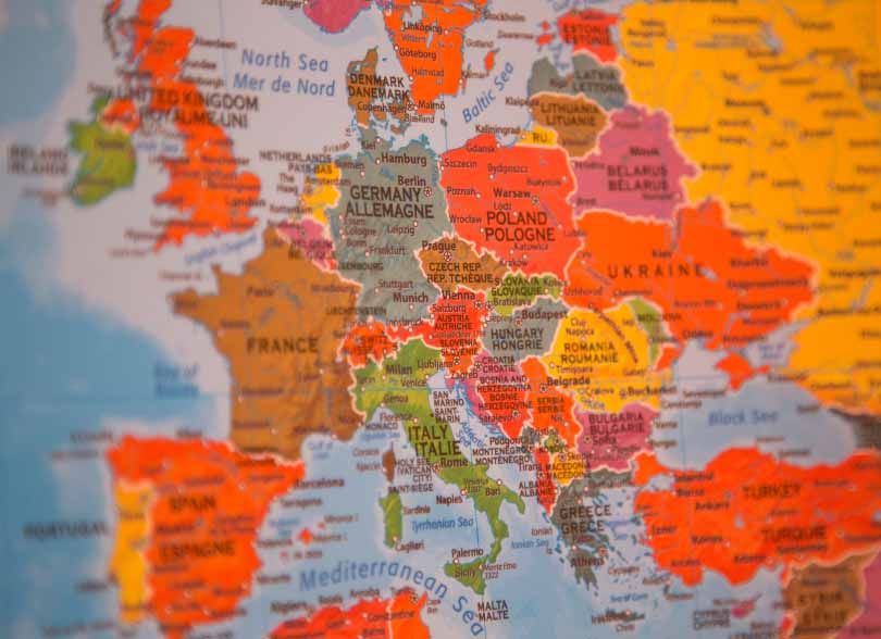 Colourful map of the countries and cities within Europe