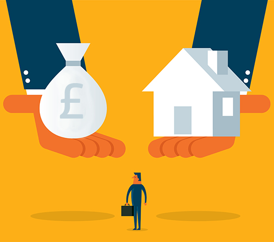 House and money graphic