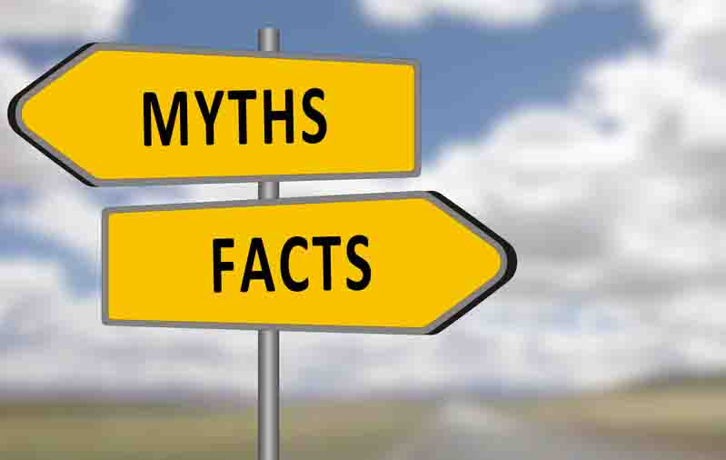 Myths and Facts signpost on the motorway