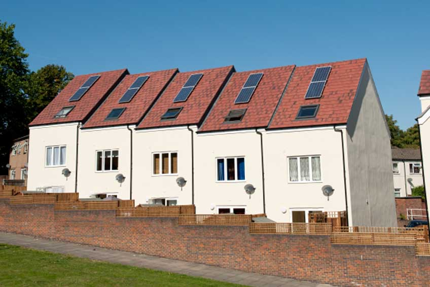 New-build homes within a development with solar panels