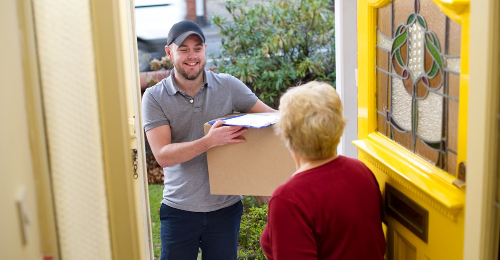 man making a delivery to a residential address