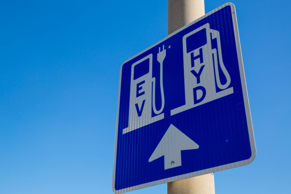 Hydrogen fuelling and EV charging sign
