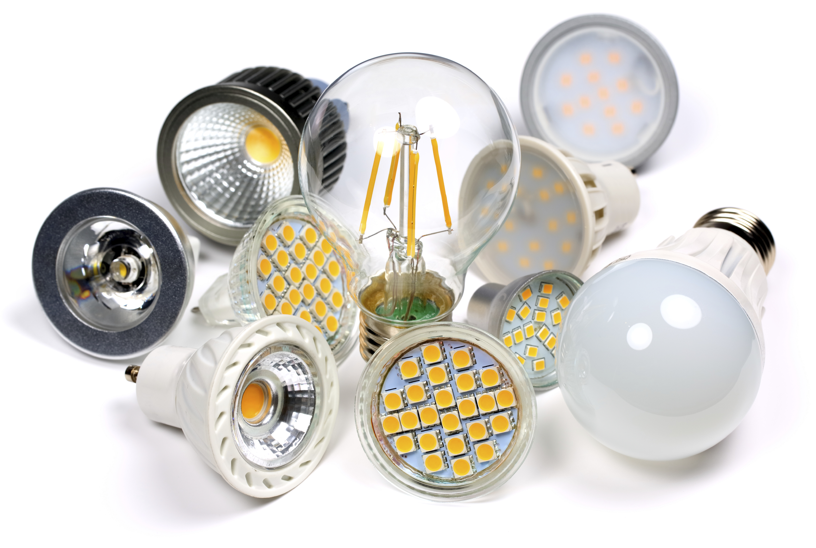 selection of light bulbs on a white background