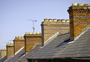 blue above the chimneys