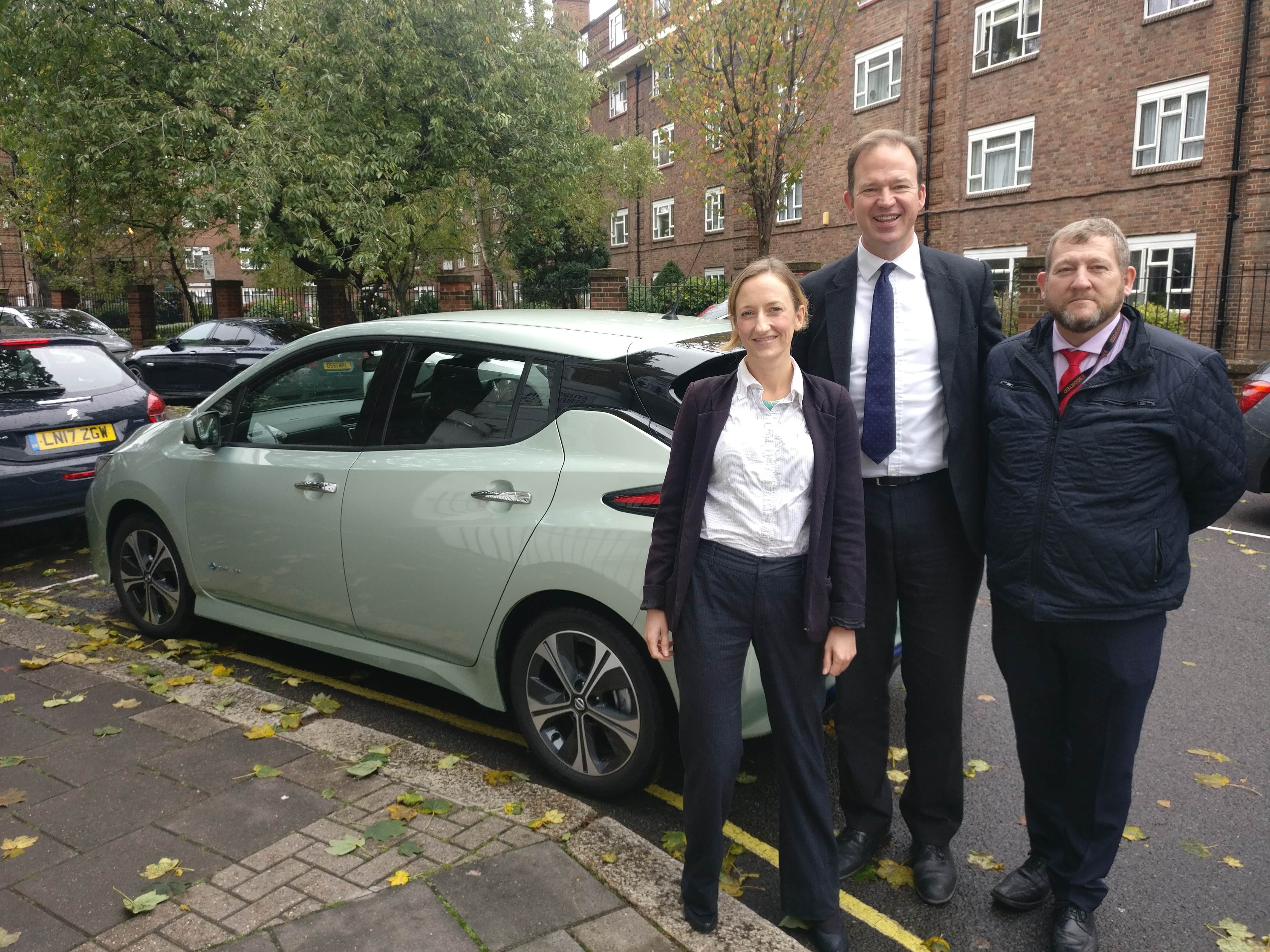 Jesse Norman MP, John Hughes (trainer) and Carry Keay from Energy Saving Trust