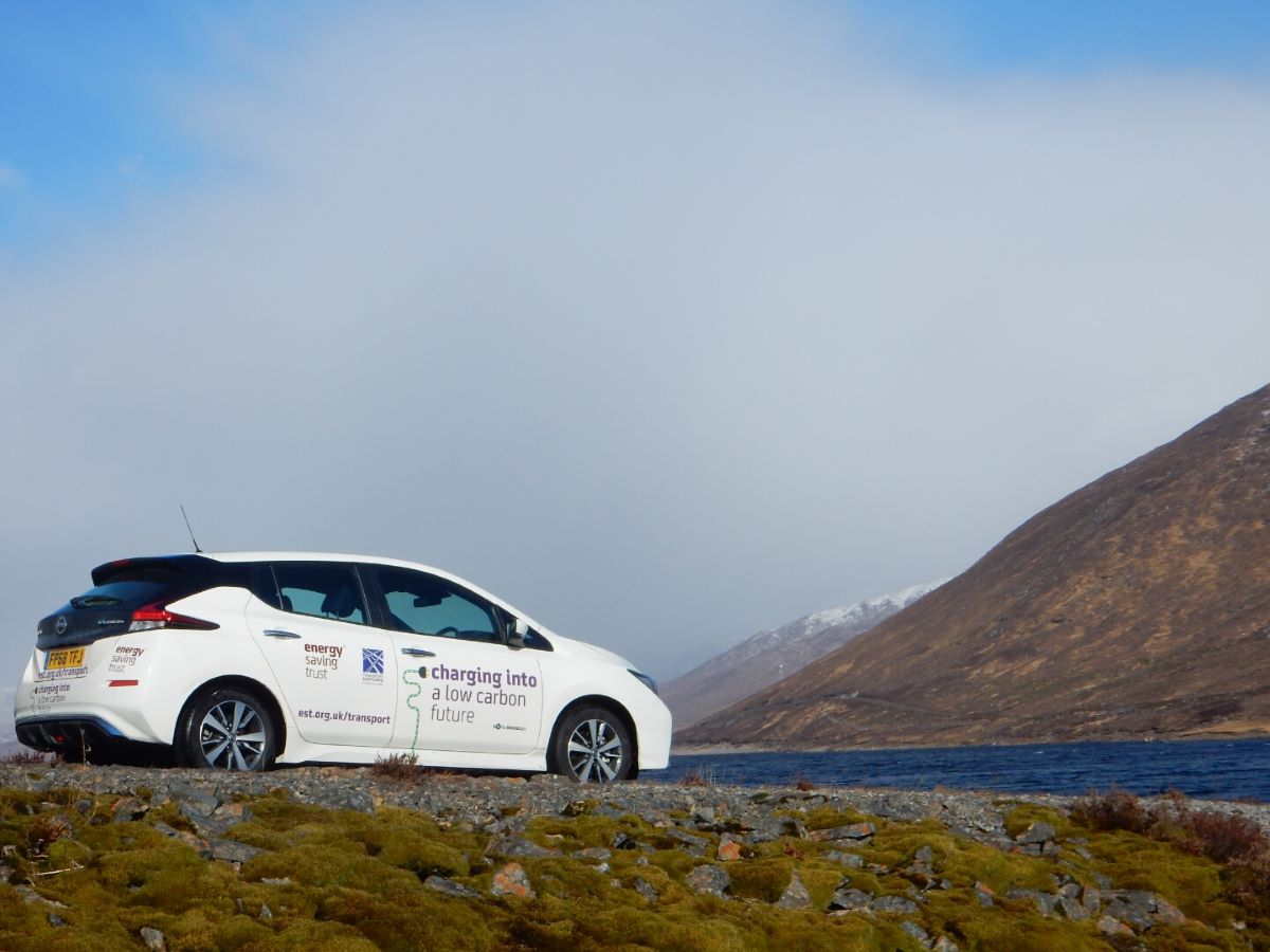 StEVie the electric vehicle (EV) on the road in Scotland