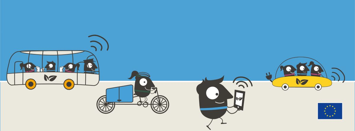 European Mobility Week Banner with characters walking, cycling and on the bus