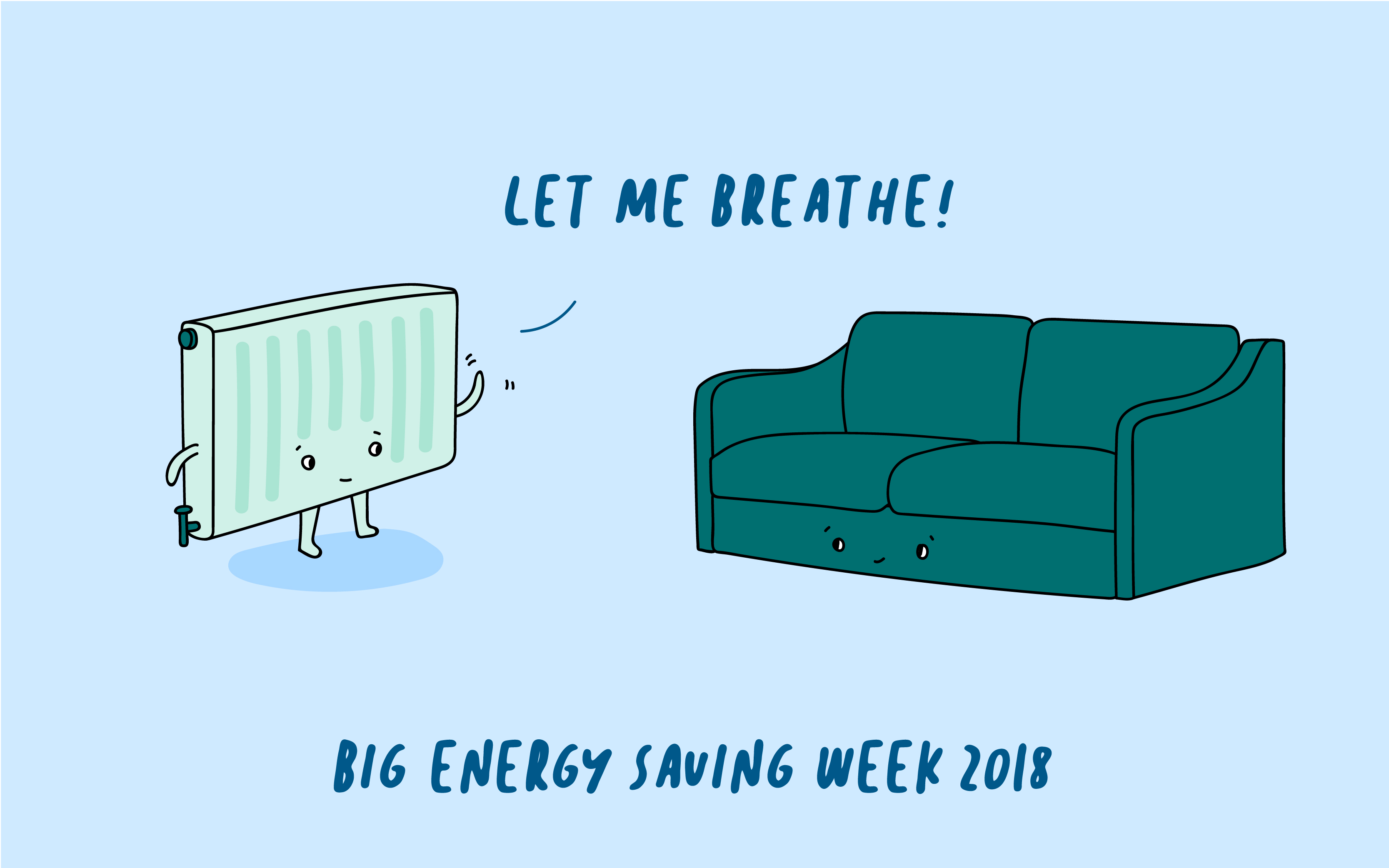 sofa and radiator talking about energy saving for big energy saving week