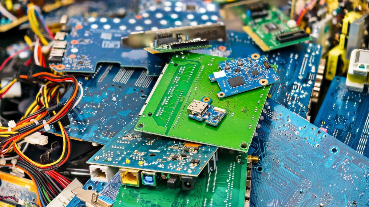 discarded elements from computer boards