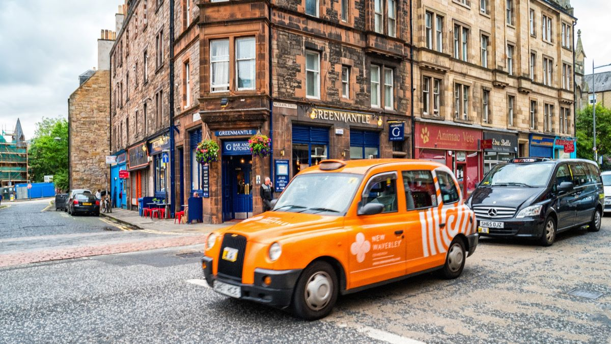 taxi on road in Edinburgh