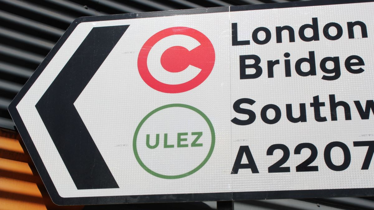 ultra low emission zone symbol on road sign