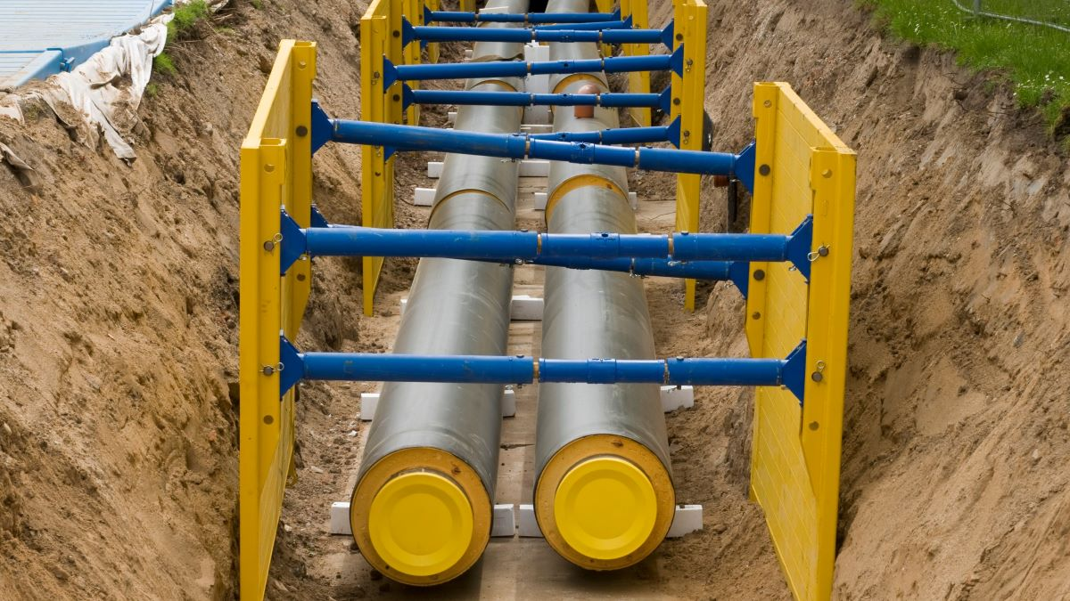 District heating pipes laid in a trench