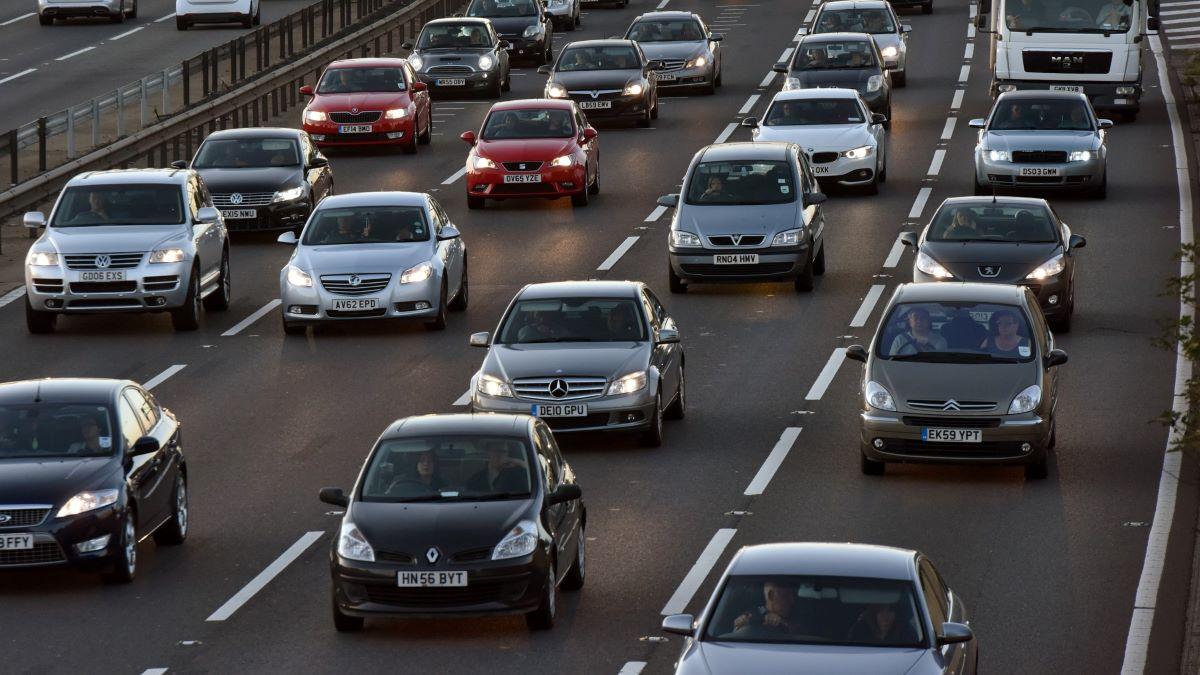 cars on motorway in a traffic jam