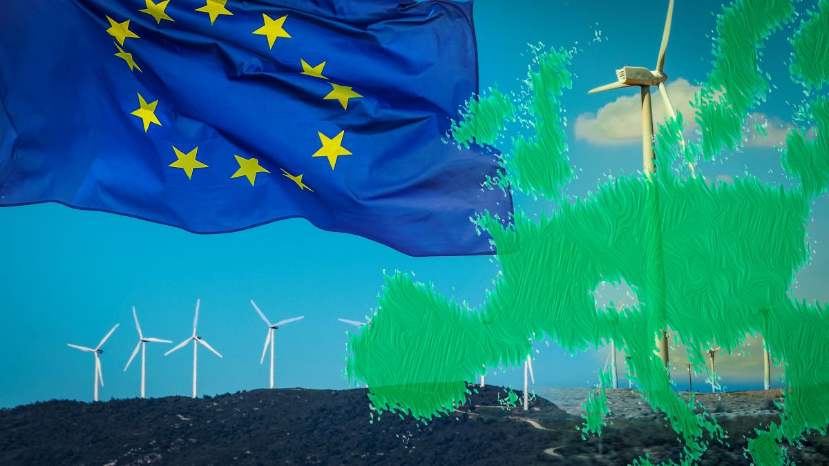 EU flag, windturbines and map of Europe