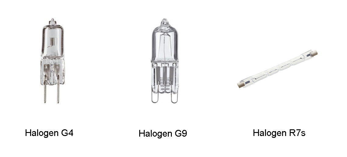 halogen lights G4, G9 and R7s with descriptions