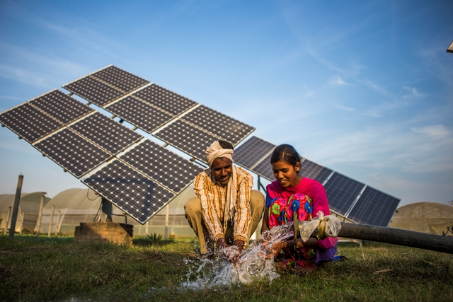 solar power panels and water pump in india
