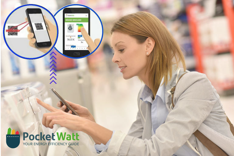 Woman using the PocketWatt tool on her phone in a shop