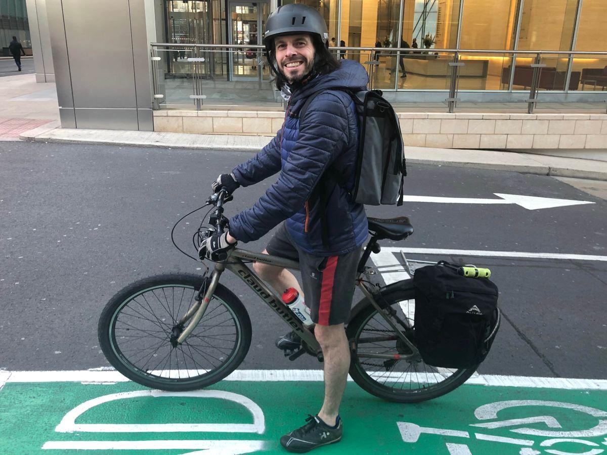 Stewart Muir commuting to work