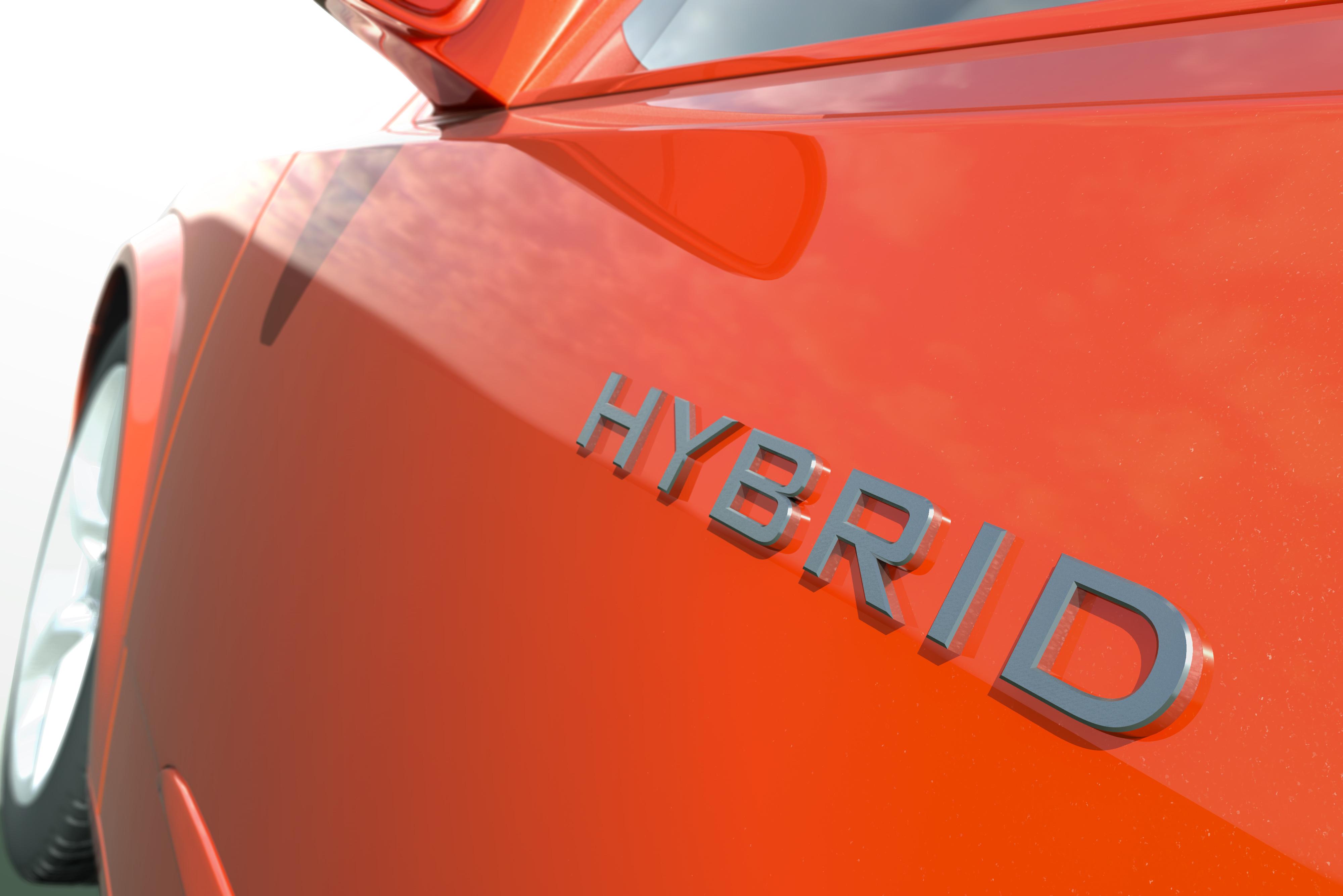 side profile of a hybrid car orange