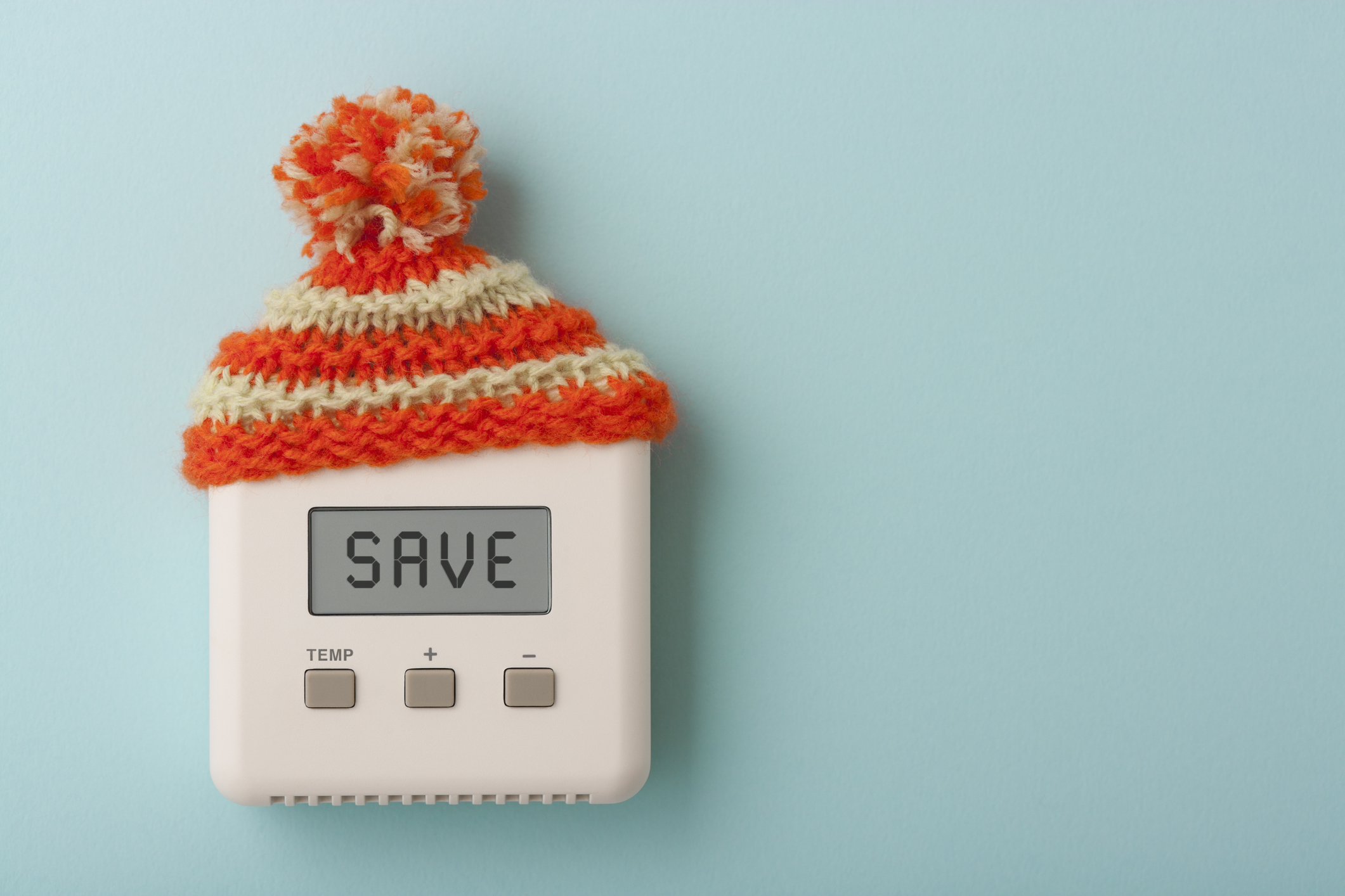 Thermostat reading save with bobble hat on