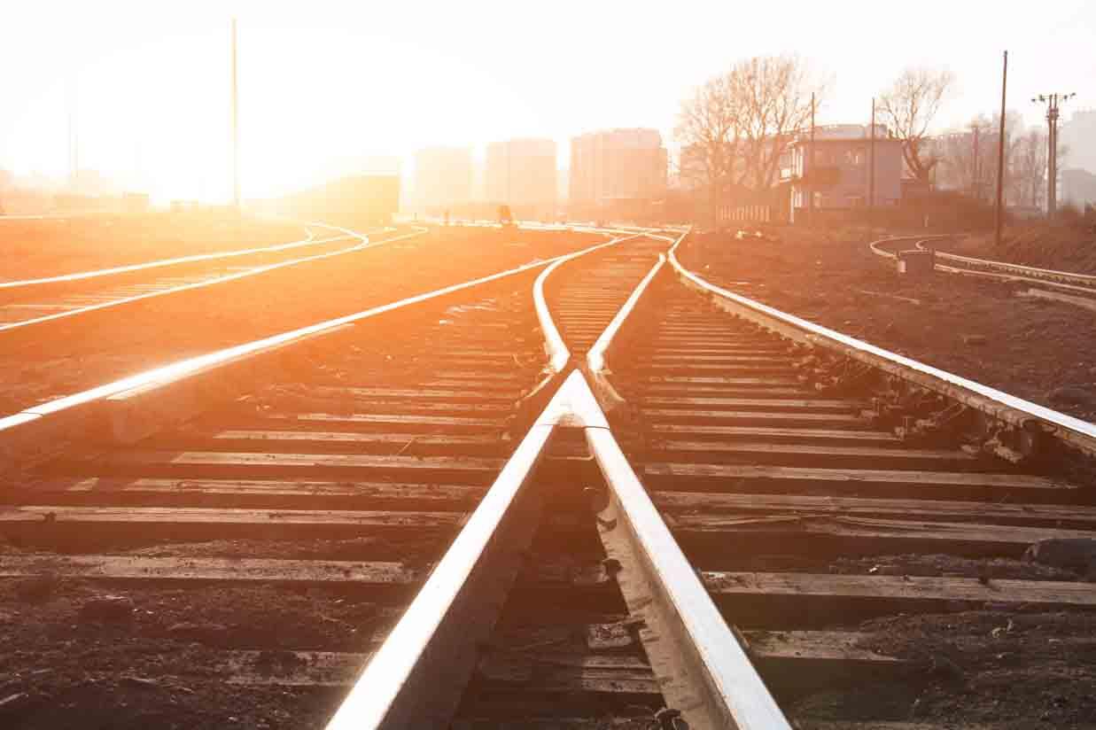 Sunny rail road track