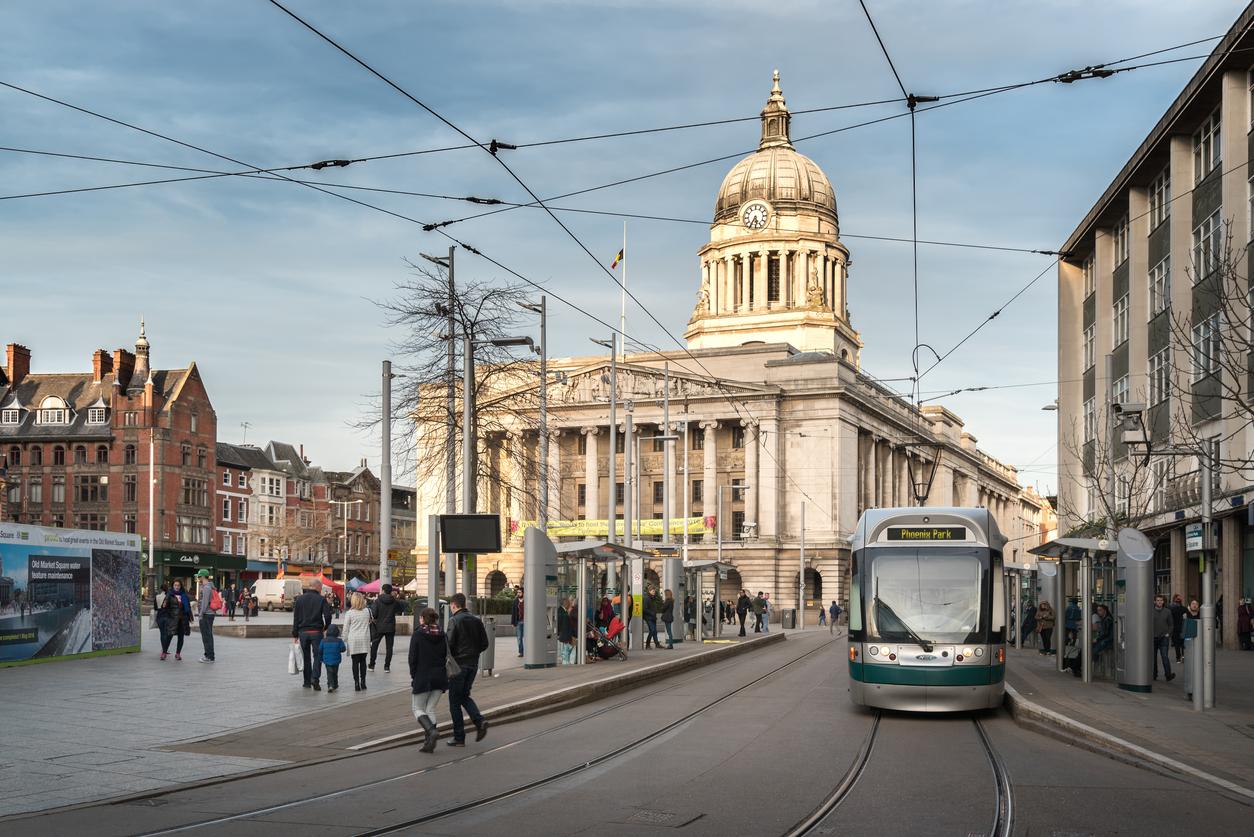 Tram in market square, Nottingham
