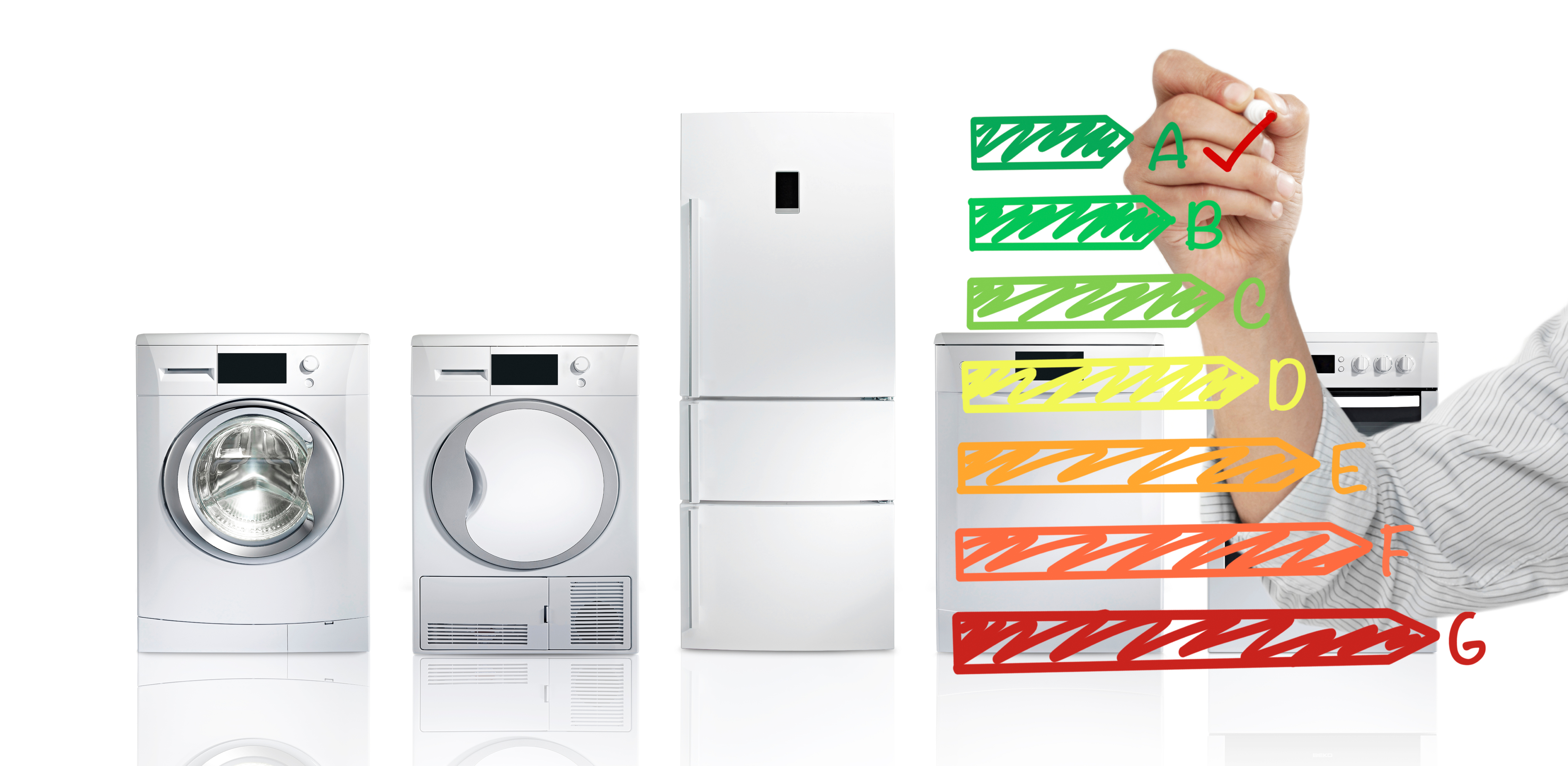 energy efficient appliances with energy label overlay