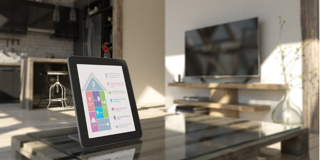 smart home controlled via a tablet