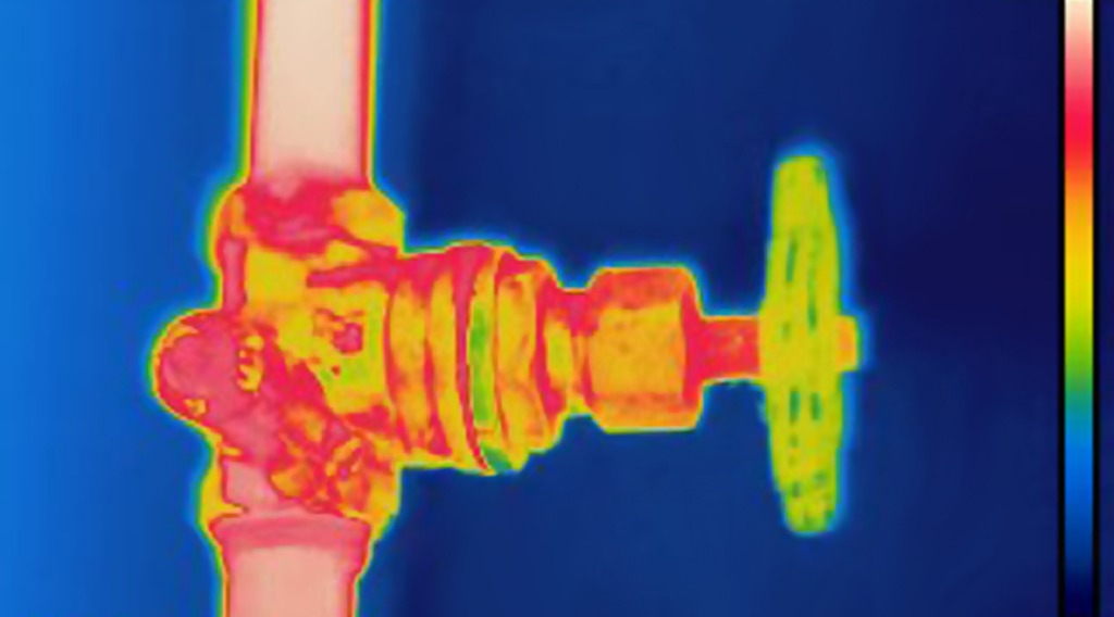 thermal image of valve on heating installation
